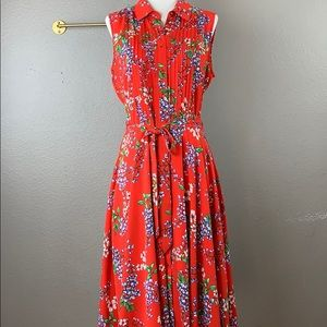 Nanette Lepore sleeveless red floral shirtdress